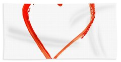 Bath Towel featuring the drawing Painted Heart - Symbol Of Love by Michal Boubin