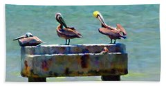 3 Pelicans Bath Towel by David  Van Hulst