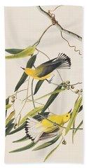 Prothonotary Warbler Hand Towel by John James Audubon