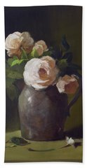 3 Roses In Silver Pitcher Bath Towel