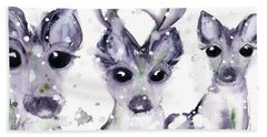 Hand Towel featuring the painting 3 Snowy Deer by Dawn Derman