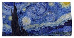 Bath Towel featuring the painting Starry Night by Van Gogh