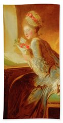 Bath Towel featuring the painting The Love Letter by Jean Honore Fragonard
