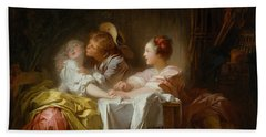 Bath Towel featuring the painting The Stolen Kiss by Jean-Honore Fragonard
