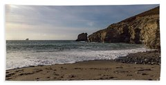 Hand Towel featuring the photograph Trevellas Cove Cornwall by Brian Roscorla