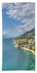 view over the Lake Garda with the charming village Malcesine Hand Towel