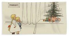 Vintage Christmas Card Hand Towel