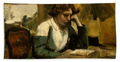 Young Girl Reading Bath Towel