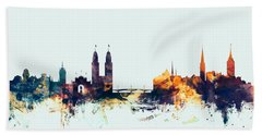 Zurich Switzerland Skyline Bath Towel