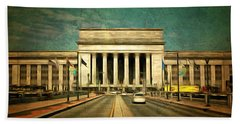 Bath Towel featuring the mixed media 30th Street Station Traffic by Trish Tritz