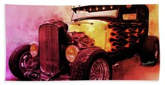 31 Model A Ford Fiery Watercolour Hand Towel