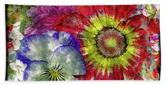 33a Abstract Floral Painting Digital Expressionism Art Hand Towel