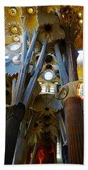 Artistic Achitecture Within The Sagrada Familia In Barcelona Bath Towel by Richard Rosenshein