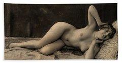 Digital Ode To Vintage Nude By Mb Bath Towel