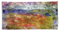 39a Abstract Landscape Sunset Over Wildflower Meadow Bath Towel