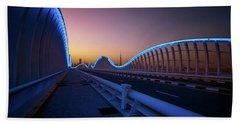 Amazing Night Dubai Vip Bridge With Beautiful Sunset. Private Ro Hand Towel