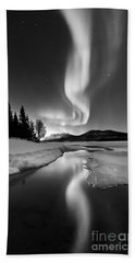 Aurora Borealis Over Sandvannet Lake Bath Towel