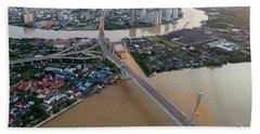 Hand Towel featuring the photograph Bhumibol Bridge Aerial View At Sunrise by Pradeep Raja PRINTS