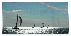 4 Boats On The Horizon Hand Towel