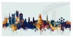 Bath Towel featuring the digital art Brussels Belgium Skyline by Michael Tompsett