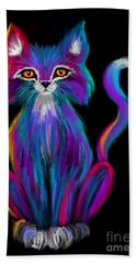 Colorful Cat Hand Towel by Nick Gustafson