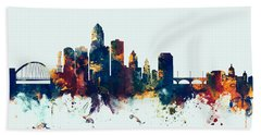 Des Moines Iowa Skyline Hand Towel by Michael Tompsett