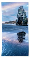Dinosaur Rock Beach In Iceland Hand Towel by Joe Belanger