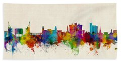 Fayetteville Arkansas Skyline Hand Towel by Michael Tompsett