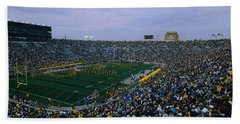 High Angle View Of A Football Stadium Hand Towel by Panoramic Images