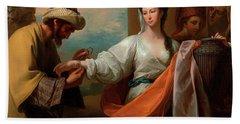 Isaac's Servant Tying The Bracelet On Rebecca's Arm Bath Towel
