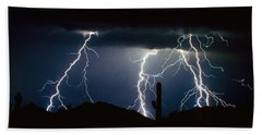 4 Lightning Bolts Fine Art Photography Print Bath Towel