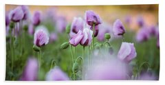 Lilac Poppy Flowers Bath Towel