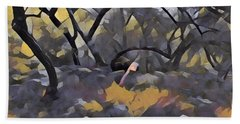 Morning Walk Trees Hand Towel