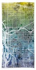 Hand Towel featuring the digital art Portland Oregon City Map by Michael Tompsett