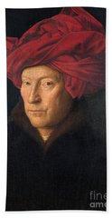 Portrait Of A Man  Bath Towel by Jan van Eyck