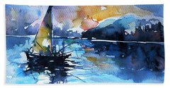 Hand Towel featuring the painting Sailboat by Kovacs Anna Brigitta