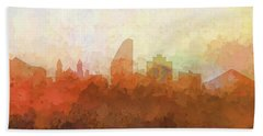 Hand Towel featuring the digital art San Jose California Skyline by Marlene Watson