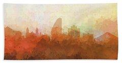 Bath Towel featuring the digital art San Jose California Skyline by Marlene Watson