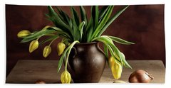 Still Life With Tulips Hand Towel by Nailia Schwarz