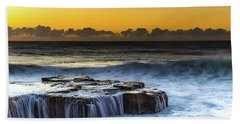 Sunrise Seascape With Cascades Over The Rock Ledge Bath Towel