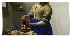 The Milkmaid, 1660 Hand Towel