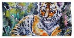 Hand Towel featuring the painting Tiger Cub by Kovacs Anna Brigitta