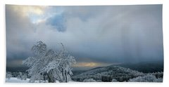 Typical Snowy Landscape In Ore Mountains, Czech Republic. Bath Towel
