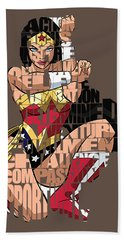Wonder Woman Inspirational Power And Strength Through Words Hand Towel by Marvin Blaine