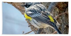 Bath Towel featuring the photograph Yellow-rumped Warbler by Ricky L Jones