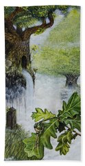 Hand Towel featuring the painting No Title  by Mariusz Zawadzki