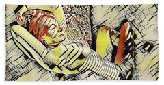 Hand Towel featuring the digital art 4248s-jg Zebra Striped Woman In Armchair By Window Erotica In The Style Of Kandinsky by Chris Maher