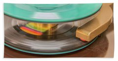 Bath Towel featuring the photograph 45 Rpm Record In Play Mode by Gary Slawsky