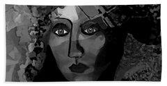 Hand Towel featuring the digital art 455 - Dark Dreamer by Irmgard Schoendorf Welch