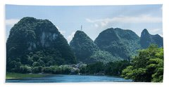 Lijiang River And Karst Mountains Scenery Hand Towel